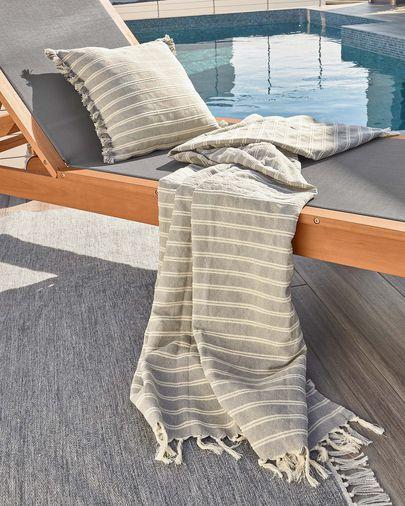 Kussenhoes Sweeney met grijze en witte strepen van 100% katoen 45 x 45 cm