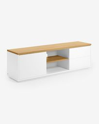 Abilen oak veneer and white lacquer TV stand 150 x 44 cm