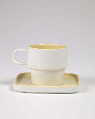 Filiżanka i spodek Midori ceramiczna żółty