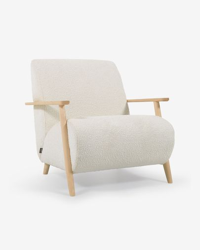 Meghan armchair in white shearling with solid ash legs with natural finish