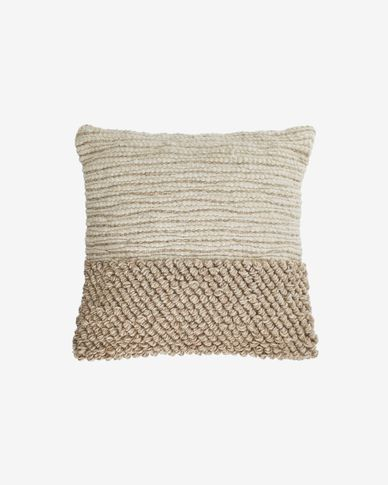 Funda cojín Maday de lana y algodón beige 45 x 45 cm