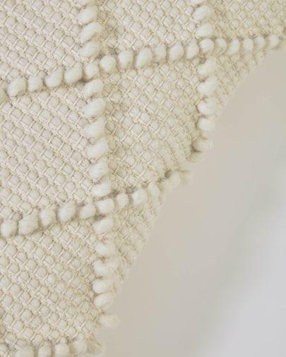 Funda cojín Kerenise de lana y algodón blanco 45 x 45 cm