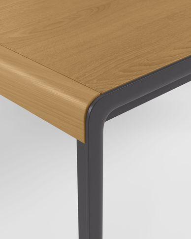 Nadyria ausziehbarer Tisch mit Eichenfurnier und schwarzen Stahlbeinen 120 (160) x 80 cm