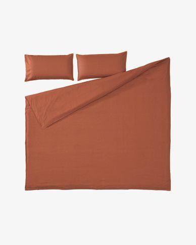 Set Ibelis funda nórdica, bajera y funda almohada algodón orgánico GOTS granate 180x200 cm