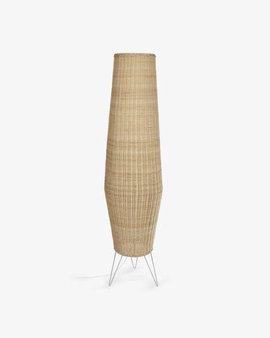 Lámpara de pie grande Kamaria de ratán con acabado natural
