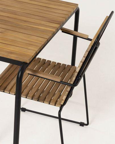 Mesa Yukari 84 x 70 cm de madera maciza de acacia efecto teca patas de acero acabado negro