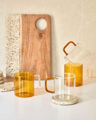 Tasse Coralie en verre orange et transparent