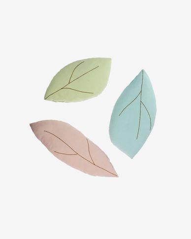 Lot de 3 coussins Daney en forme de feuille 100% coton bio GOTS rose, vert et bleu
