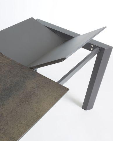 Axis uitschuifbare tafel 120 (180) cm porselein afwerking Iron Moss antraciet benen