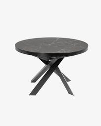 Mesa extensible Vashti Ø 120 (160) cm porcelánico de acero acabado negro