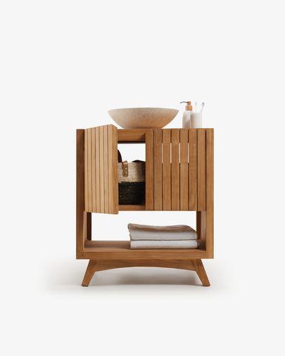 Mueble de baño rectangular con lavabo encimera Kuveni de madera maciza de teca 70 x 92 cm