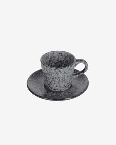 Koffiekop en schotel Airena van keramiek in zwart en grijs