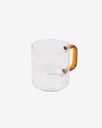 Tasse Coralie en verre transparent et orange