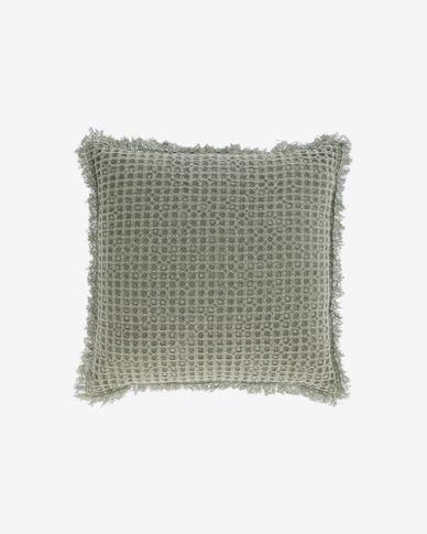 Funda de coixí  Shallow 100% cotó verd de 45 x 45 cm