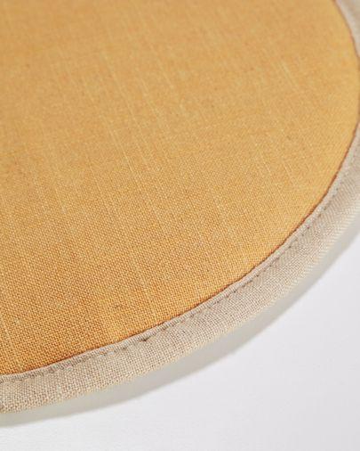 Galette de chaise ronde Prisca moutarde Ø 35 cm