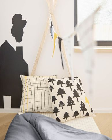 Saori 100% organic cotton (GOTS) striped cushion cover in black and yellow 45 x 45 cm