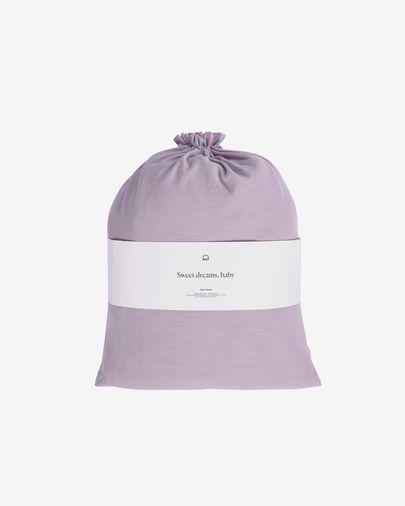 Set Dileta funda nórdica, bajera y funda almohada 100% algodón GOTS lila 180 x 200 cm