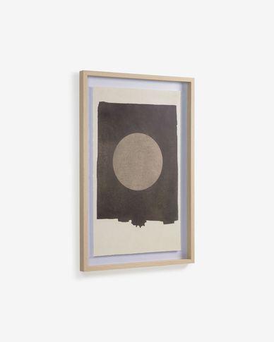 Schilderij Naira cirkelvormig in zwart 60 x 90 cm