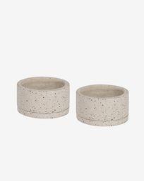 Ensemble Lelis de 2 cache-pots avec soucoupe en terrazzo blanc de Ø 30 cm