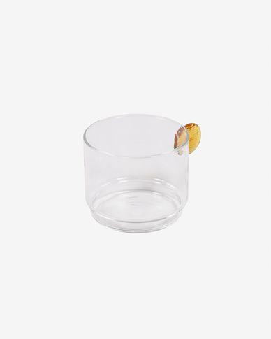 Bicchiere Murielle trasparente e vetro arancione
