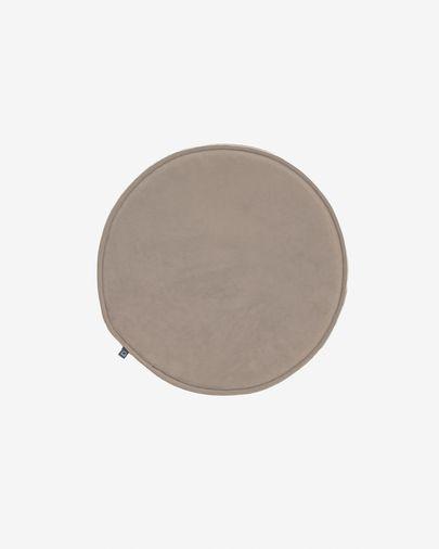 Rimca round velvet chair cushion in taupe, 35 cm