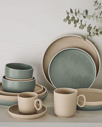 Taza de café con plato Shun de porcelana beige