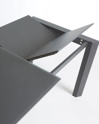 Axis uitschuifbare tafel 140 (200) cm  grafiet glas grafiet benen