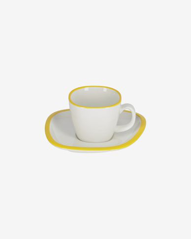 Odalin porcelain coffee cup in yellow and white