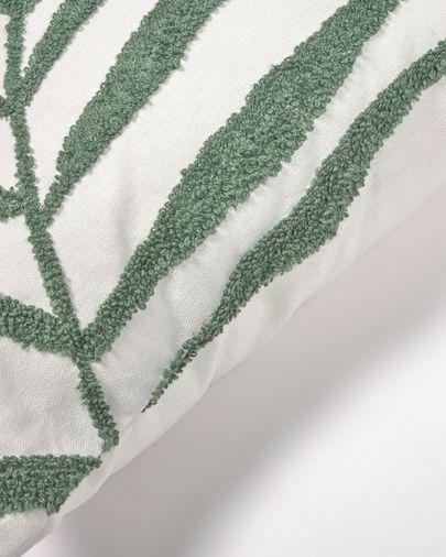 Housse de coussin Amorela 100% coton feuille brodée verte 45 x 45cm