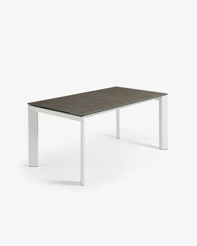 Tavolo allungabile Axis 140 (200) cm porcellanato finitura Vulcano Cenere gambe bianco
