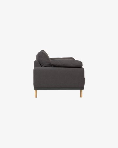 Noa 3-seater sofa in grey with cushions and natural finish legs 230 cm