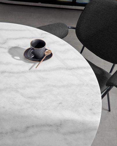 Taula Oria marbre blanc potes acer daurat Ø 120 cm