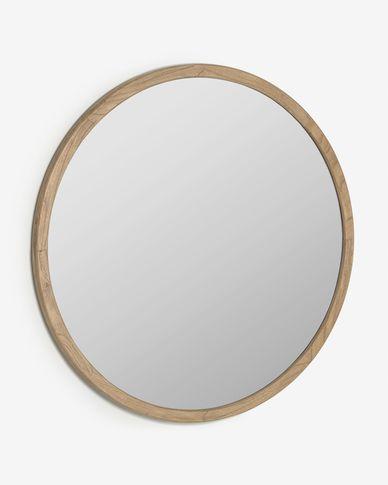 Specchio rotondo Alum in legno massello di mindi Ø 100 cm