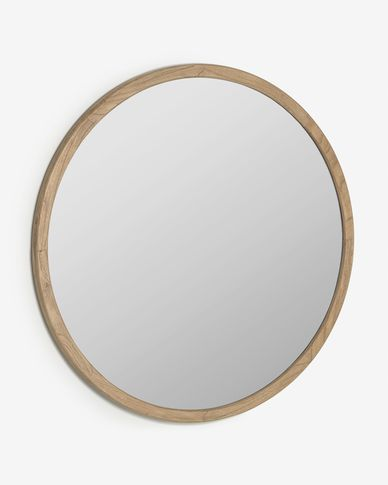 Espejo redondo Alum madera maciza mindi Ø 100 cm