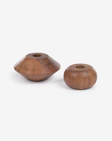 Tecia set of 2 solid acacia wood candlesticks 4,5 cm and 5,5 cm