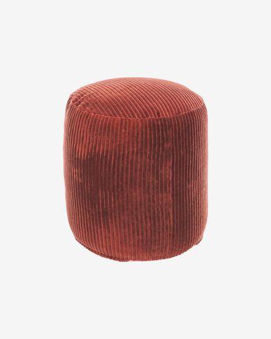 Cadenet round pouffe in terracotta velvet Ø 40 cm