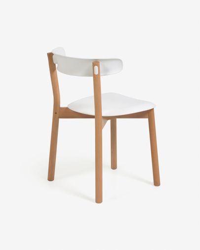 Santina solid beech chair in white