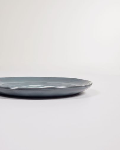 Plato de postre Airena de cerámica azul