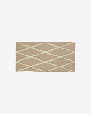 Abena rug in natural and white jute and cotton rug 70 x 140 cm