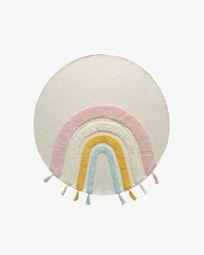 Tapete redondo Thaide 100% algodão arco-íris multicolor Ø 100 cm