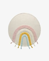 Tapete redondo Thaide 100% algodão (GOTS) arco-íris multicolor Ø 100 cm