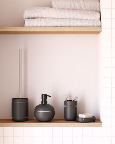 Cerisa black ceramic toilet brush with white detail