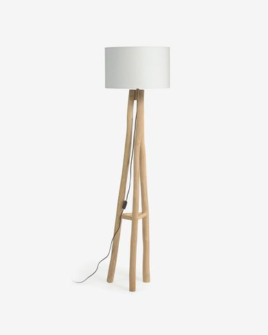 Lampada da terra Lucelia bianco e legno massello di teak