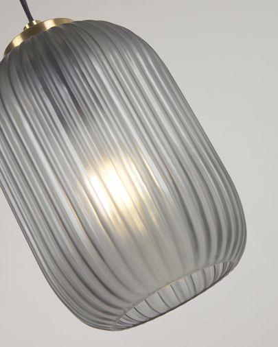 Suspension Hestia en métal finition laiton et verre gris