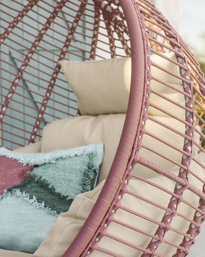 Elianis terracotta hanging chair with base