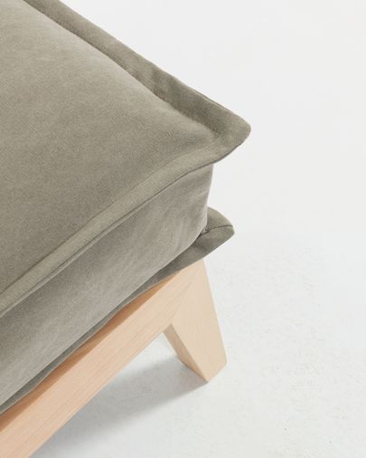 Eveline sofa bed 195 cm beige wood structure