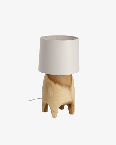 Lámpara de sobremesa Shifra de madera maciza de campano