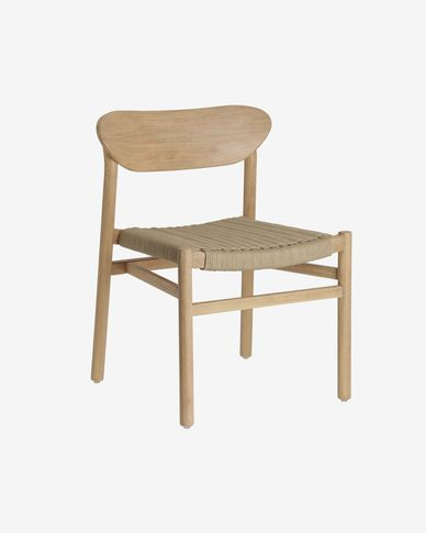 Galit chair made from solid eucalyptus wood with natural finish and beige cord