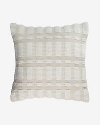 Aima cotton cushion cover in beige and white 60 x 60 cm