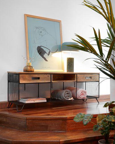 Mueble TV Aida 120, 5 x 46 cm de madera maciza de mango y acero